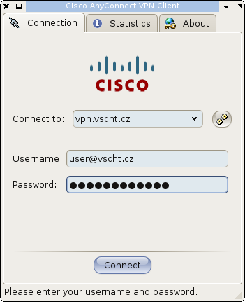 VPN Client Cisco AnyConnect - Linux - Login